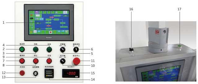 PUR热熔复合机操作控制面板说明